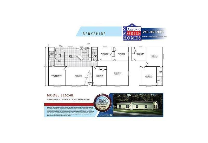 Berkshire 32624b 4 Optional 3 Bed 2 Bath Mobile Home For