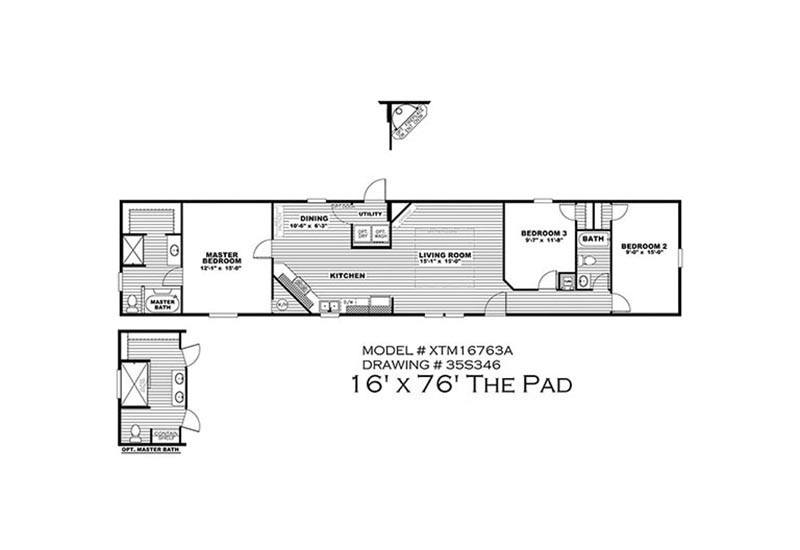 The Pad - XTM16763A 3 Bed 2 Bath Mobile Home For Sale